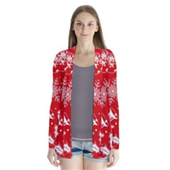 Red Winter Holiday Pattern Red Christmas Drape Collar Cardigan