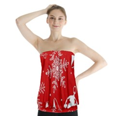 Red Winter Holiday Pattern Red Christmas Strapless Top