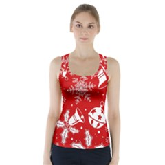 Red Winter Holiday Pattern Red Christmas Racer Back Sports Top