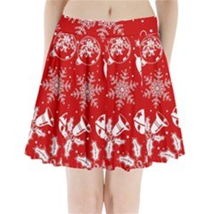 Red Winter Holiday Pattern Red Christmas Pleated Mini Skirt