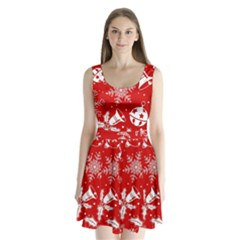 Red Winter Holiday Pattern Red Christmas Split Back Mini Dress