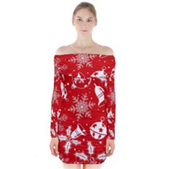 Red Winter Holiday Pattern Red Christmas Long Sleeve Off Shoulder Dress