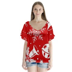 Red Winter Holiday Pattern Red Christmas Flutter Sleeve Top