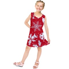 Red Winter Holiday Pattern Red Christmas Kids  Tunic Dress