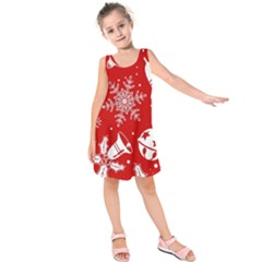 Red Winter Holiday Pattern Red Christmas Kids  Sleeveless Dress