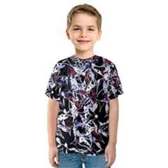 Decorative Abstract Floral Desing Kids  Sport Mesh Tee