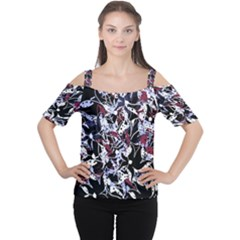 Decorative Abstract Floral Desing Women s Cutout Shoulder Tee