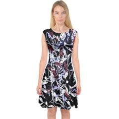 Decorative abstract floral desing Capsleeve Midi Dress