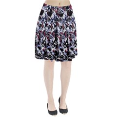 Decorative abstract floral desing Pleated Skirt