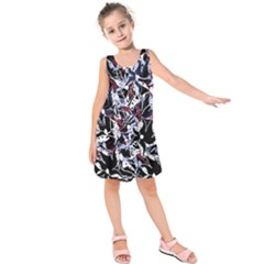 Decorative abstract floral desing Kids  Sleeveless Dress