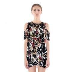 Abstract floral design Cutout Shoulder Dress