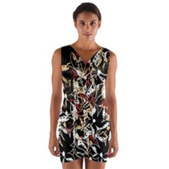 Abstract floral design Wrap Front Bodycon Dress