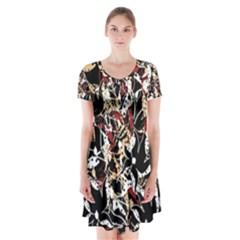 Abstract floral design Short Sleeve V-neck Flare Dress