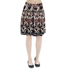 Abstract floral design Pleated Skirt