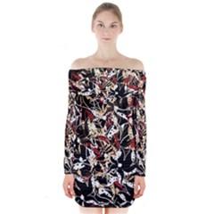 Abstract floral design Long Sleeve Off Shoulder Dress