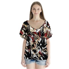 Abstract Floral Design Flutter Sleeve Top