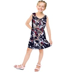 Abstract Floral Design Kids  Tunic Dress