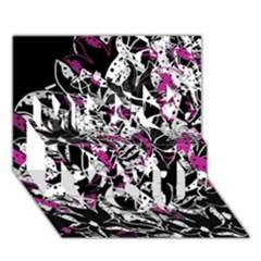 Purple Abstract Flowers Miss You 3d Greeting Card (7x5)