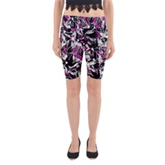 Purple abstract flowers Yoga Cropped Leggings