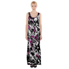 Purple abstract flowers Maxi Thigh Split Dress