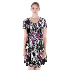 Purple abstract flowers Short Sleeve V-neck Flare Dress