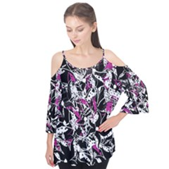 Purple Abstract Flowers Flutter Tees
