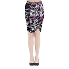 Purple abstract flowers Midi Wrap Pencil Skirt
