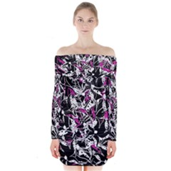 Purple abstract flowers Long Sleeve Off Shoulder Dress
