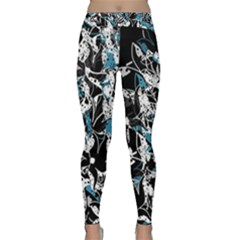 Blue Abstract Flowers Classic Yoga Leggings