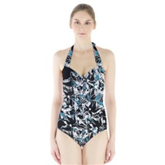 Blue abstract flowers Halter Swimsuit