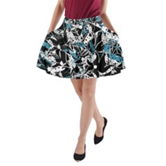 Blue abstract flowers A-Line Pocket Skirt