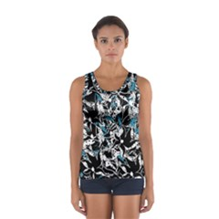Blue abstract flowers Women s Sport Tank Top