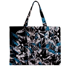Blue abstract flowers Medium Zipper Tote Bag