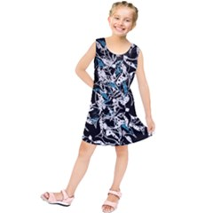 Blue abstract flowers Kids  Tunic Dress