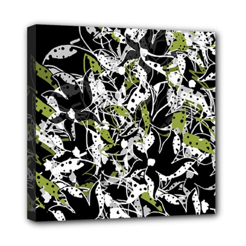 Green floral abstraction Mini Canvas 8  x 8