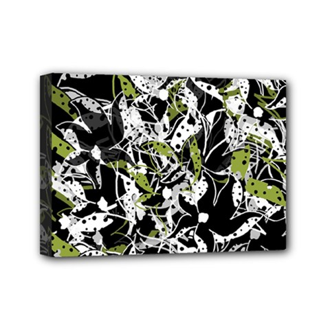 Green floral abstraction Mini Canvas 7  x 5
