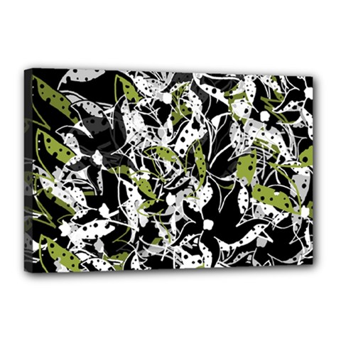 Green floral abstraction Canvas 18  x 12
