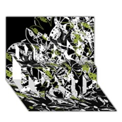 Green Floral Abstraction Miss You 3d Greeting Card (7x5)