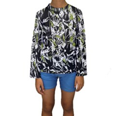 Green Floral Abstraction Kids  Long Sleeve Swimwear