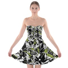 Green floral abstraction Strapless Bra Top Dress