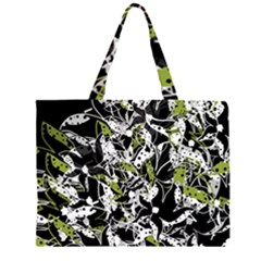 Green floral abstraction Large Tote Bag