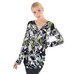 Green floral abstraction Women s Tie Up Tee