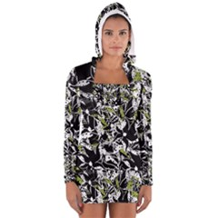 Green floral abstraction Women s Long Sleeve Hooded T-shirt