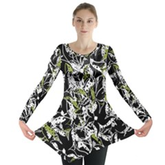 Green floral abstraction Long Sleeve Tunic