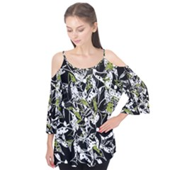 Green Floral Abstraction Flutter Tees