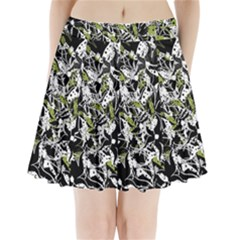 Green Floral Abstraction Pleated Mini Skirt