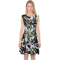 Green floral abstraction Capsleeve Midi Dress