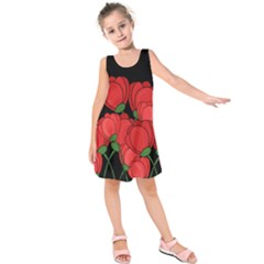 Red tulips Kids  Sleeveless Dress
