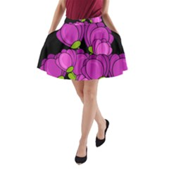 Purple Tulips A Line Pocket Skirt