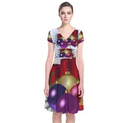 Candles Christmas Tree Decorations Short Sleeve Front Wrap Dress